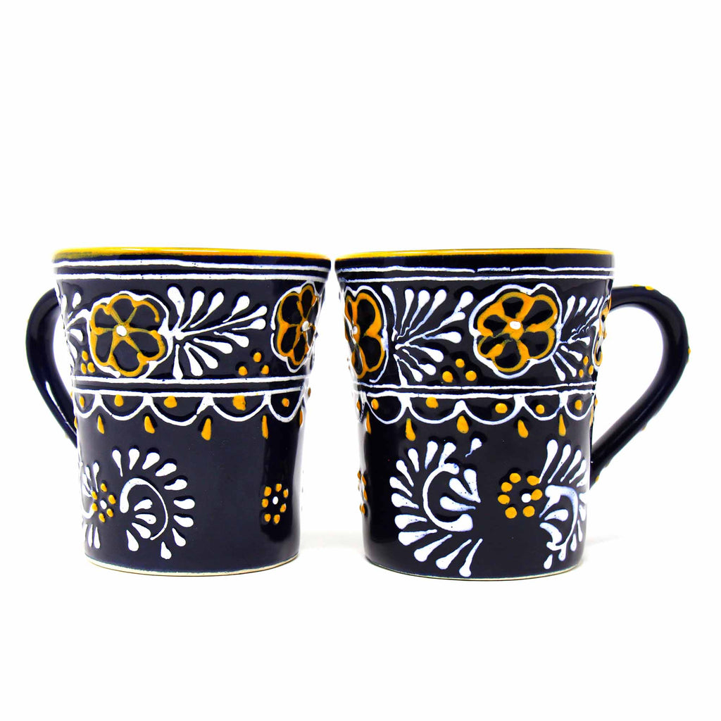 Pair of Flared Cup Blue with Yellow Rim Encantada
