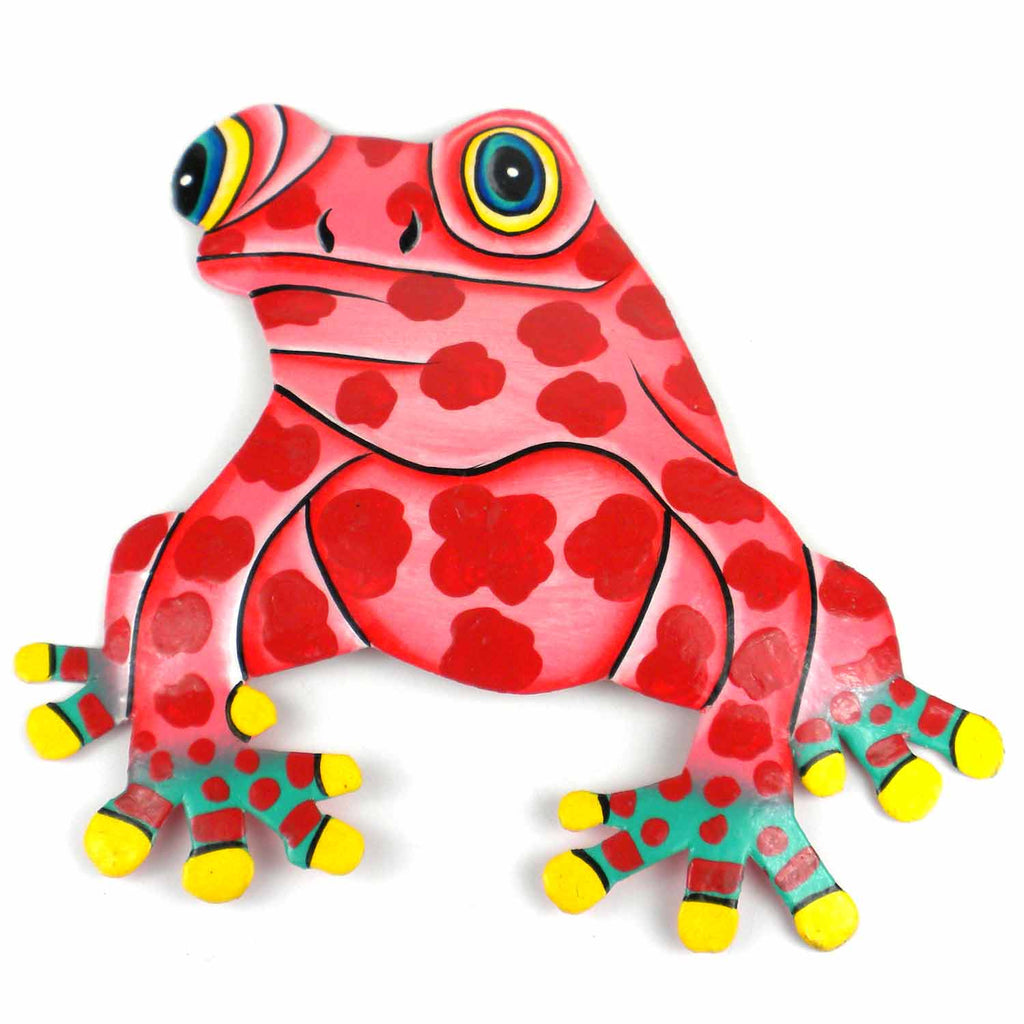 Hand Painted Metal Bullfrog Pink Spots Design Caribbean Craft