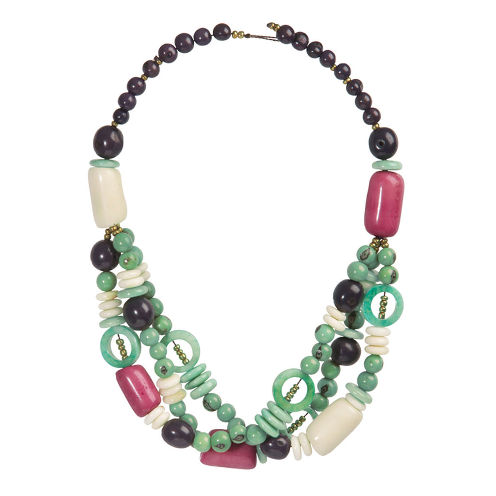 Tagua and Seed Miranda Necklace in Sea Green Faire Collection