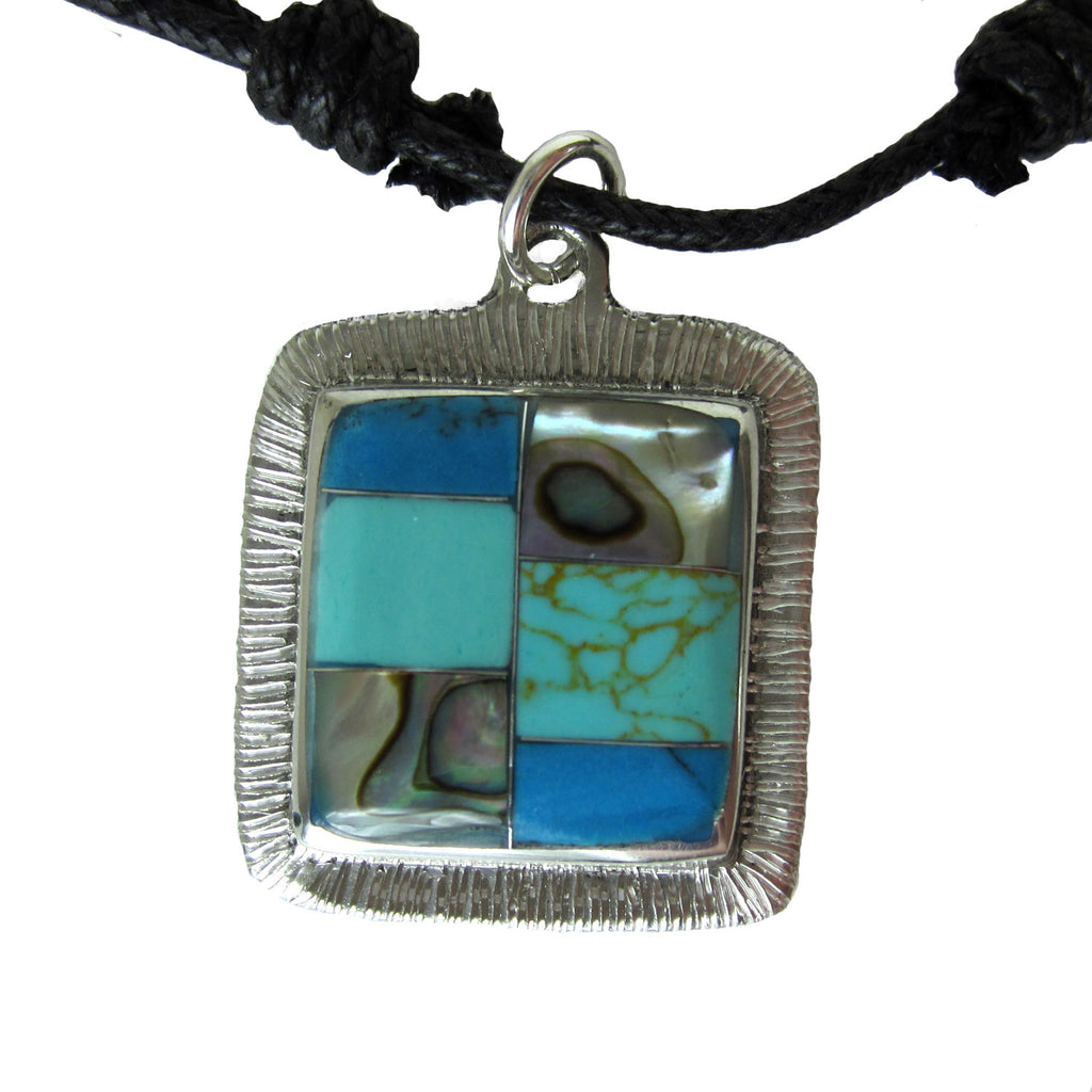 Turquoise and Abalone Square Pendant Necklace - Artisana