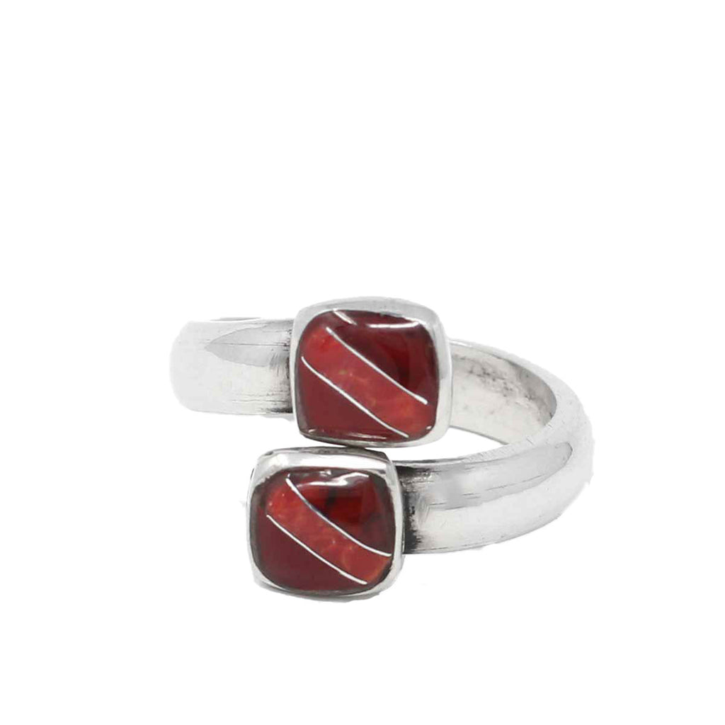 Two Cube Coral Bloodstone Alpaca Silver Wrap Ring - Artisana