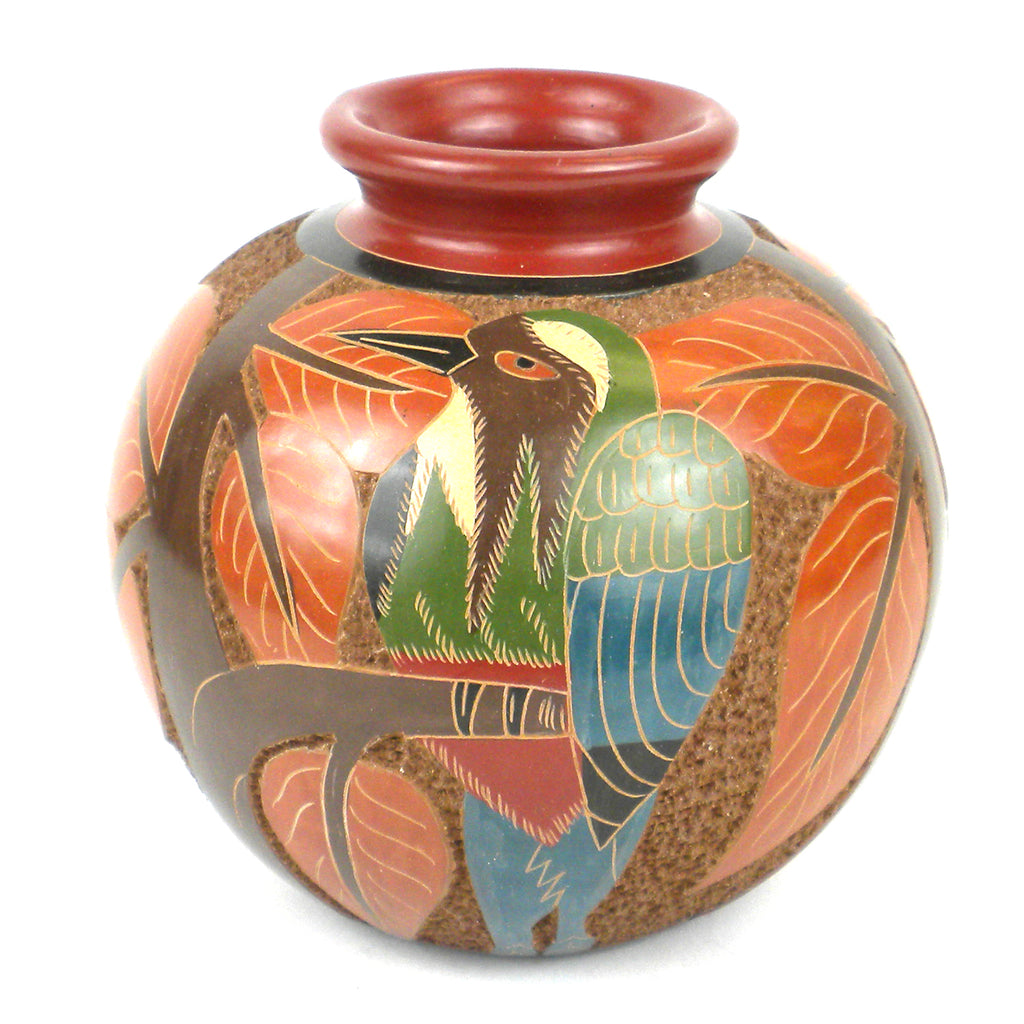 5 inch Tall Vase - Bird Relief - Esperanza en Accion