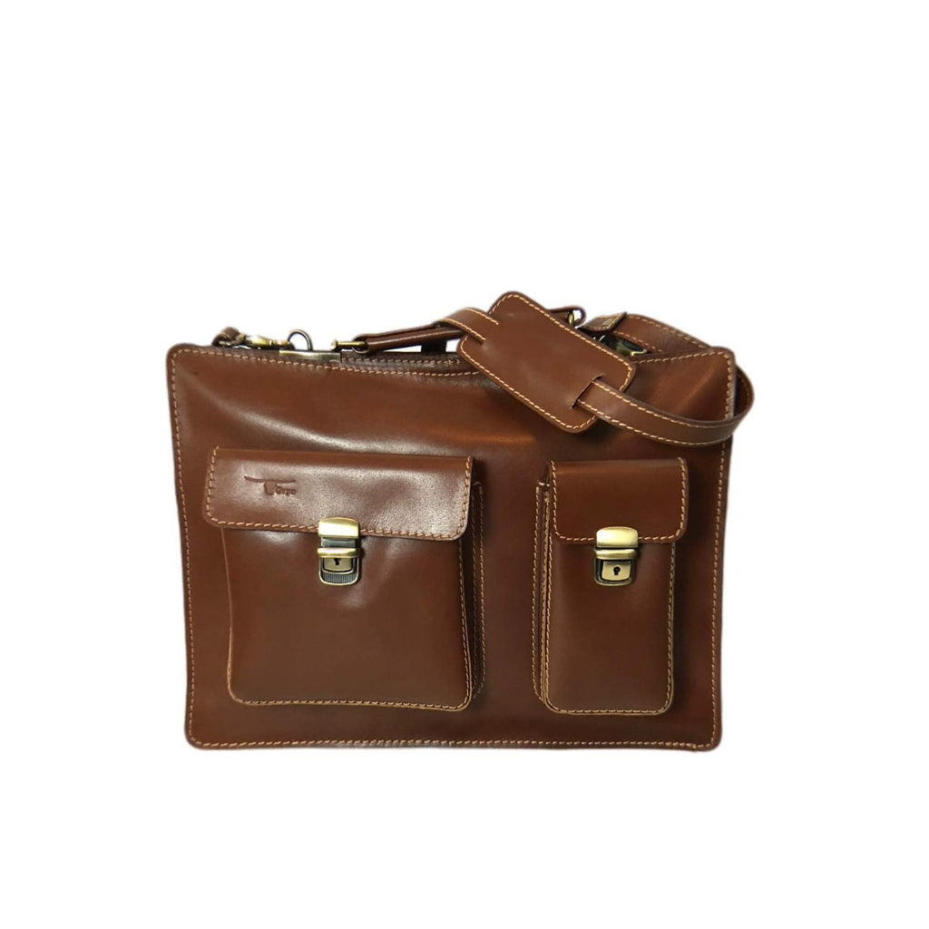 Unisex Toure Leather Briefcase Light Brown