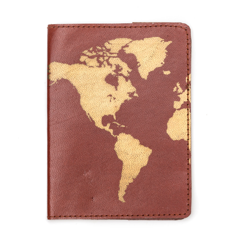 Globetrotter Leather Passport Cover - Brown - Matr Boomie