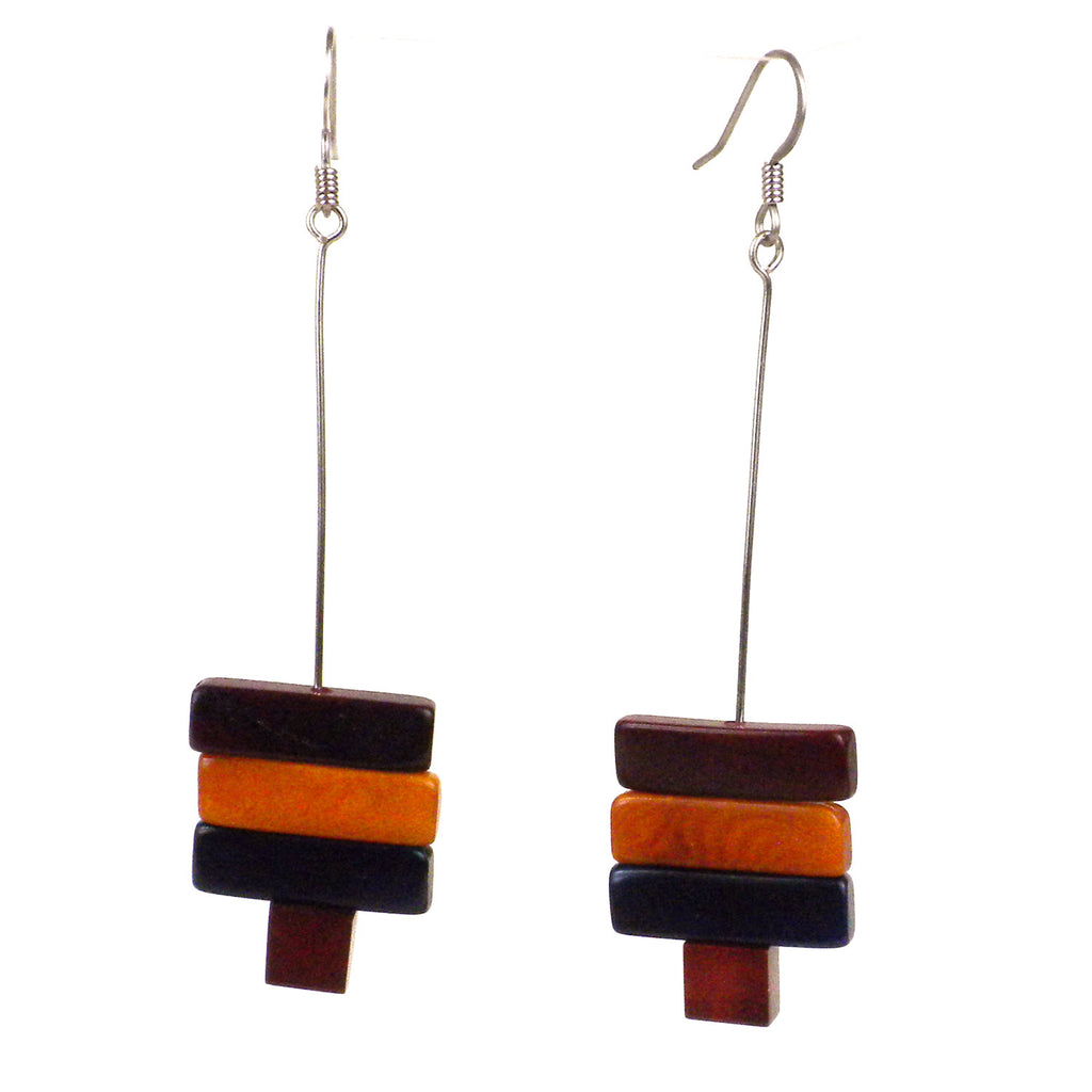 Rialto Tagua Nut Earrings in Burgundy Faire Collection
