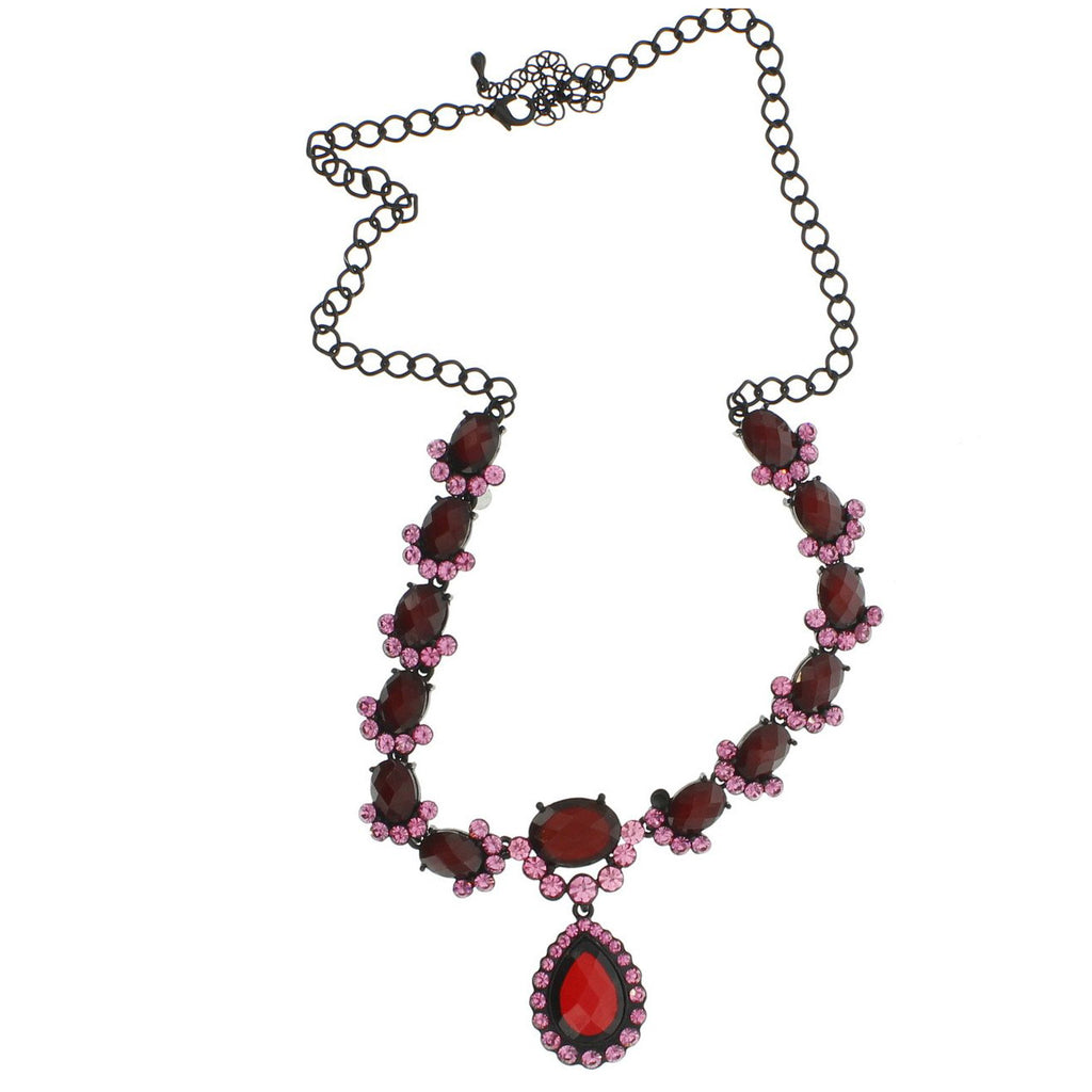 Neckware Gunmetal finish with Deep Resin and Rose Swarovski Crystals