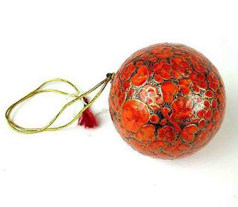 Papier Mache Ball Ornament - 2.5 inch - Orange - CFM