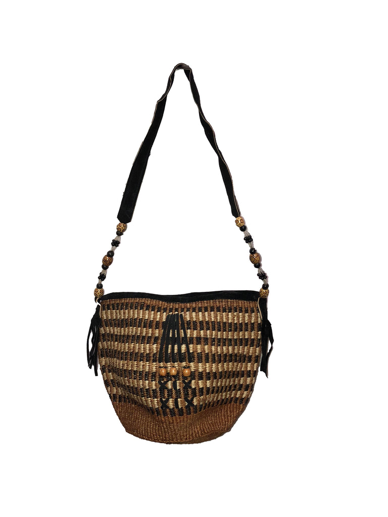 Womens Kiondo with Zipper Hand Woven Sisal Handbag