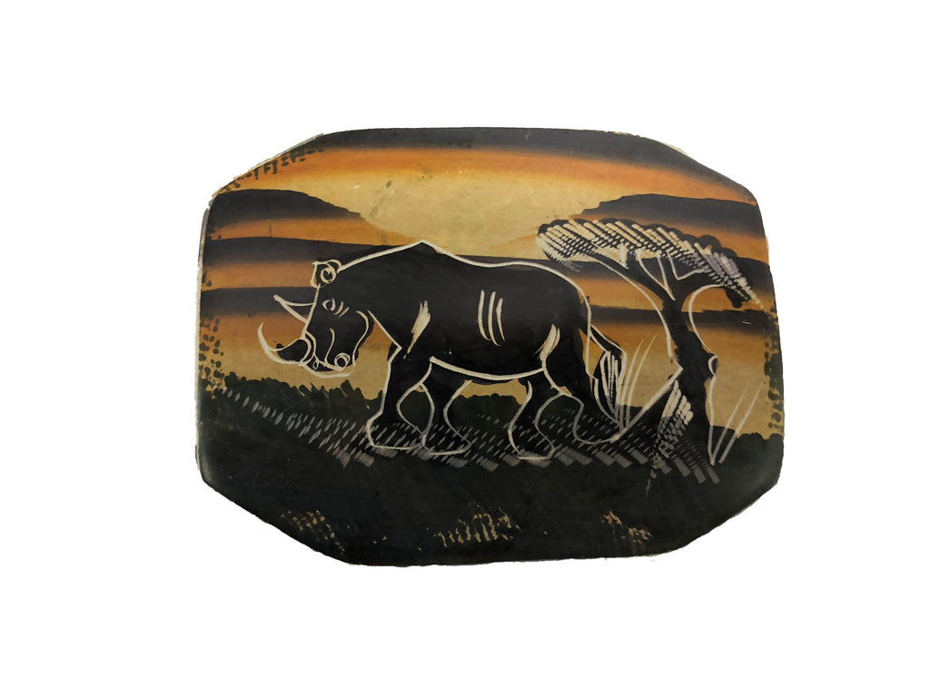 Hand Painted Rhino Soap Stone Keepsake Box