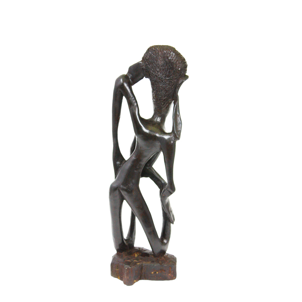 One-of-a-Kind Hand Carved Hardwood Collectible Figurine Abstract Makonde Shetani