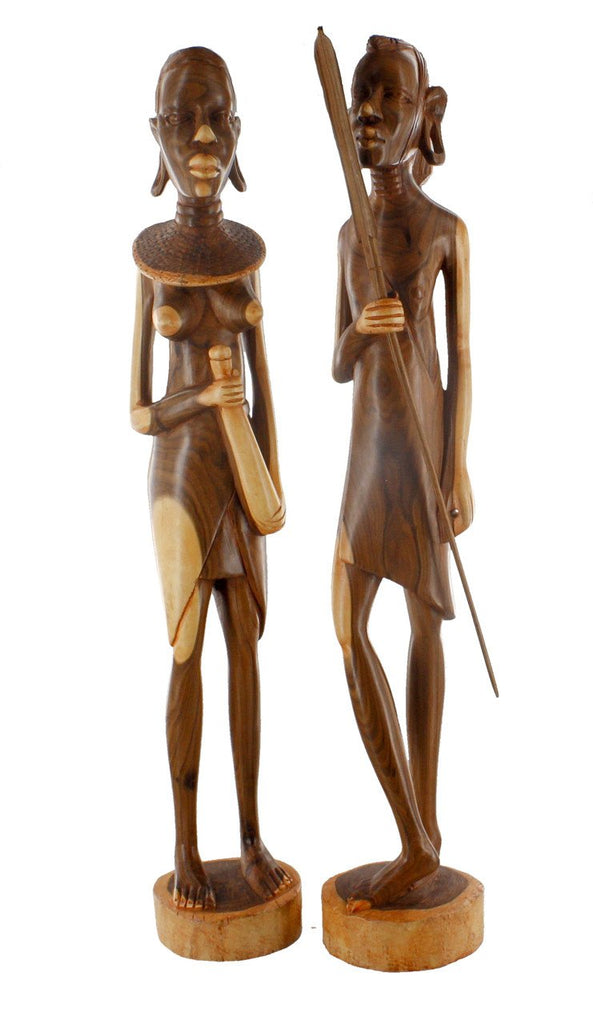 Masaai Warrior and His Wife Hand Carved