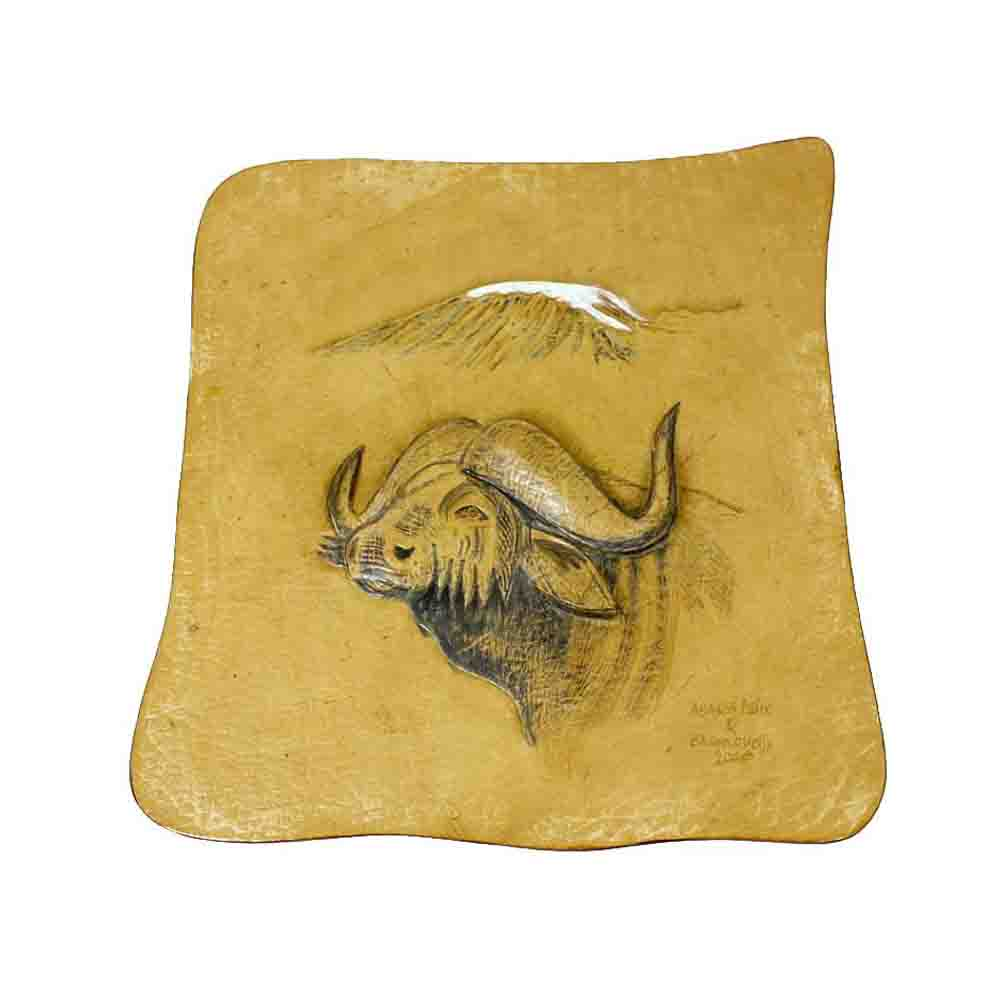 African Buffalo with Mount Kilimanjaro, Genuine Leather - Embossed