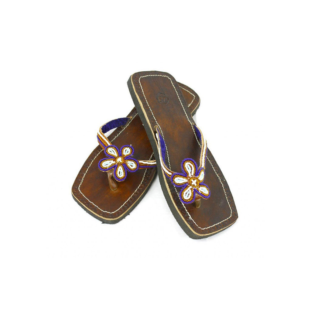 Genuine Beaded Leather Sandals