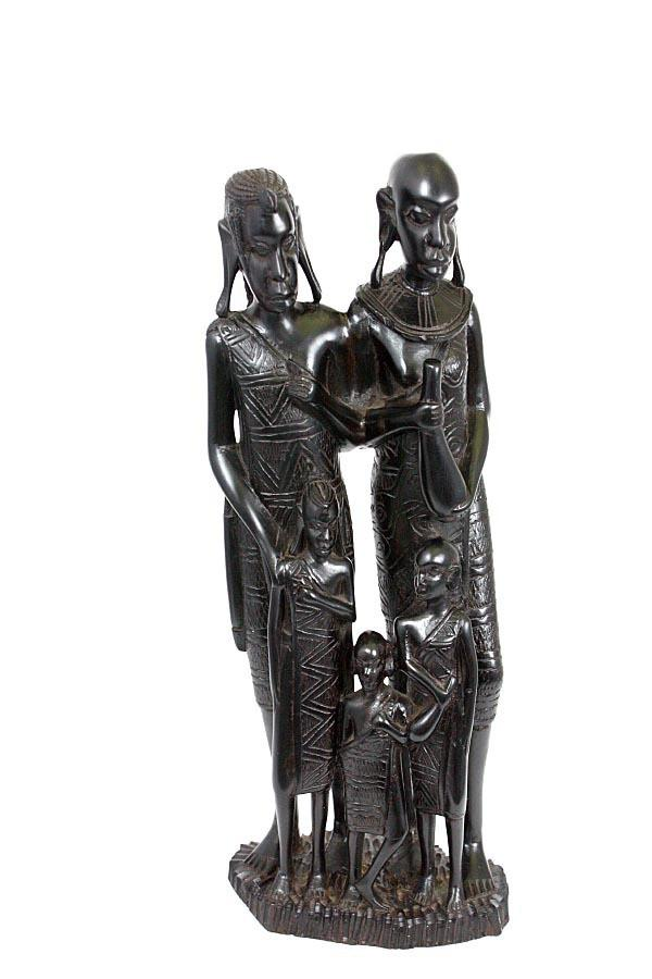 Hardwood Collectible Figurine Ebony Carved Makonde Family