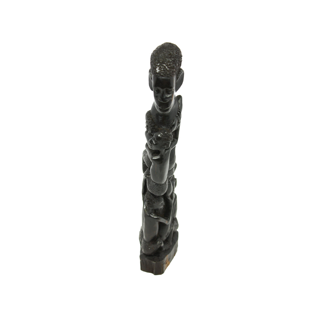 One-of-a-Kind Hand Carved Collectible Leaning Ujama Family Tree Makonde Carving