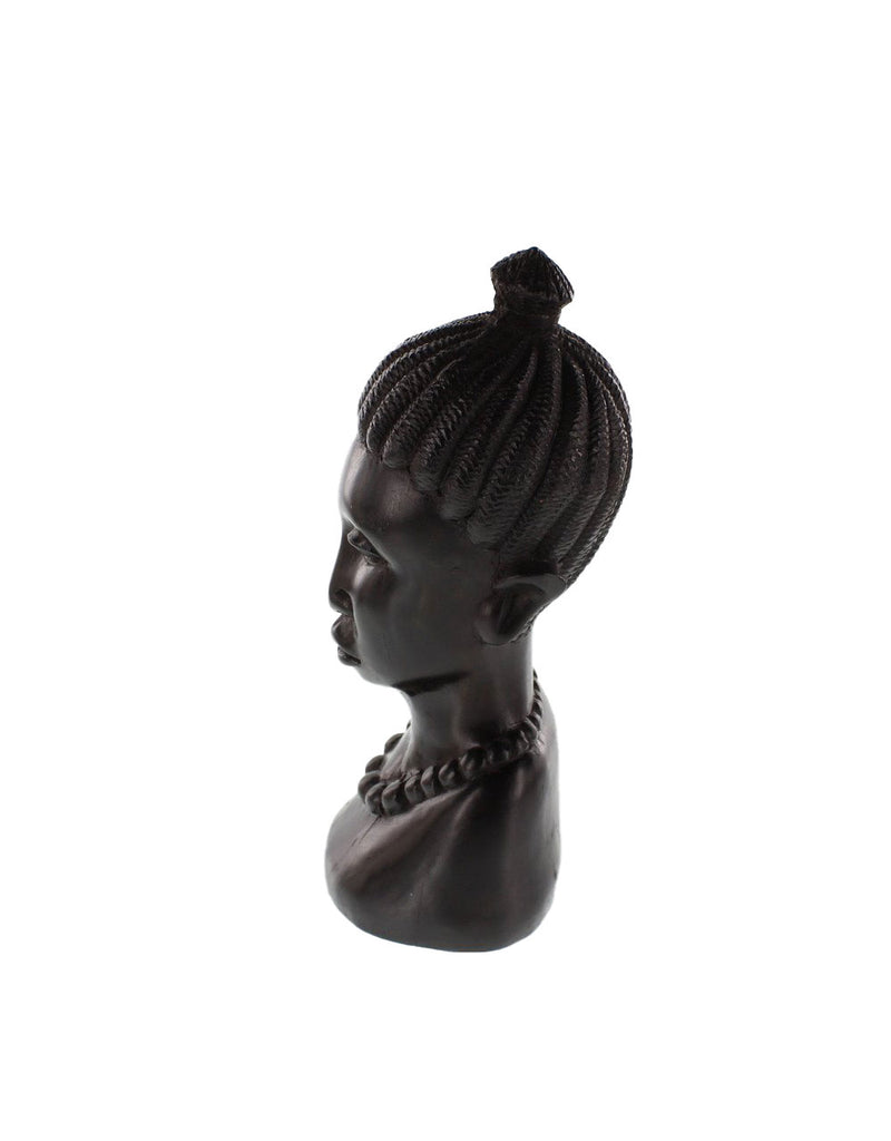 One-of-a-Kind Hand Carved Hardwood Collectible Figurine Makonde Woman Head