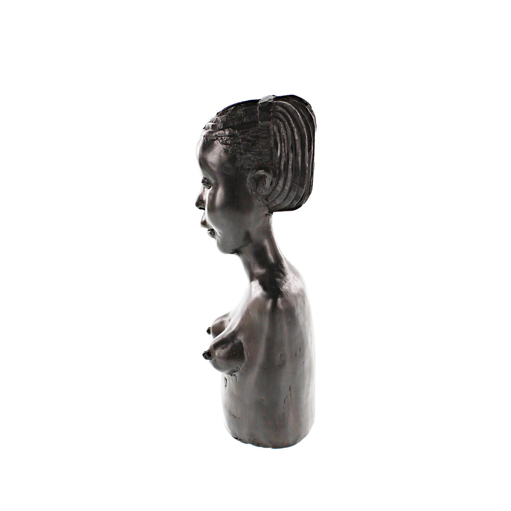One-of-a-Kind Hand Carved Collectible Figurine Makonde Woman in Ebony