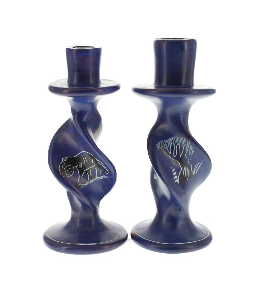 Pair of Handpainted Elephant with Tree Soapstone Candleholders 6 inches