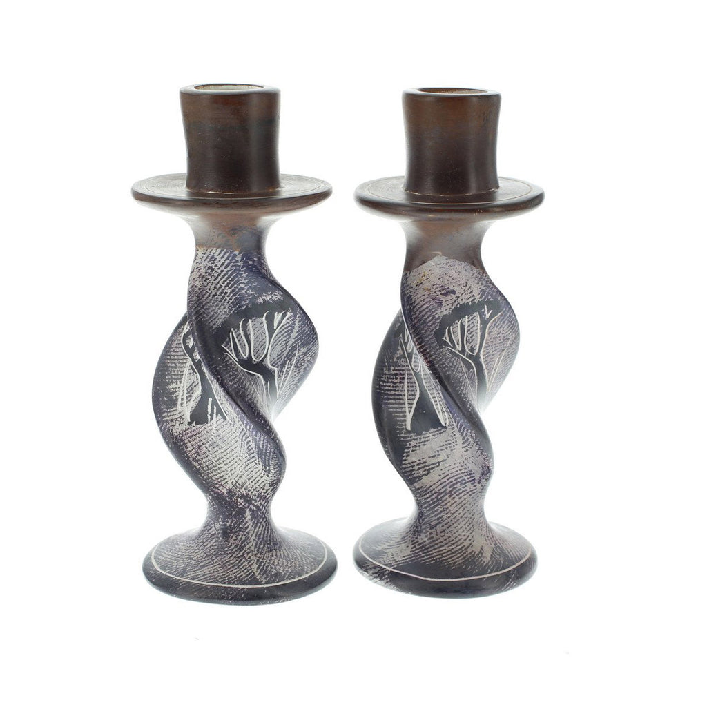 Pair of Handpainted Giraffes Soapstone Candleholders 6 inches