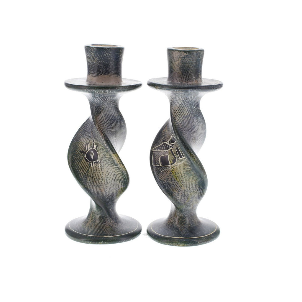 Village Huts Candle Holders