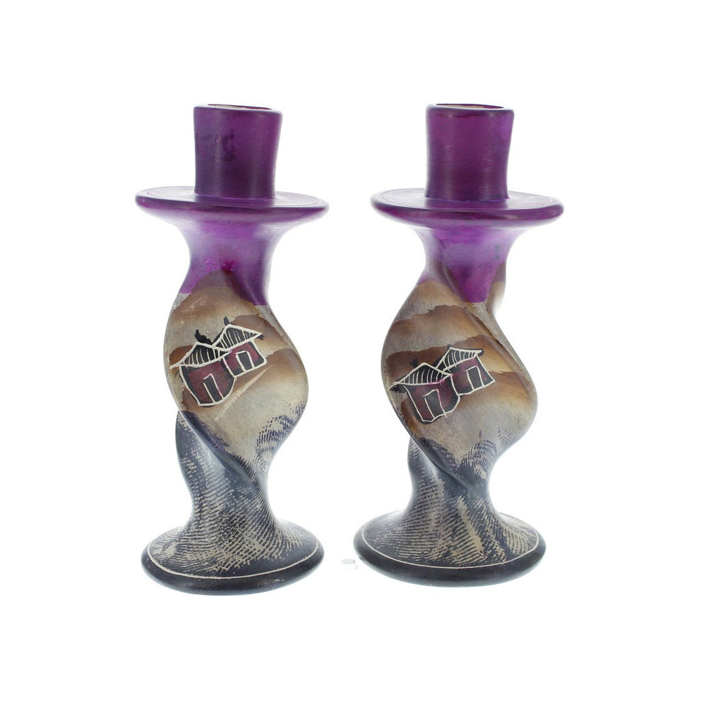 Pair of Handpainted Village Huts Soapstone Candle Holders 6 inches