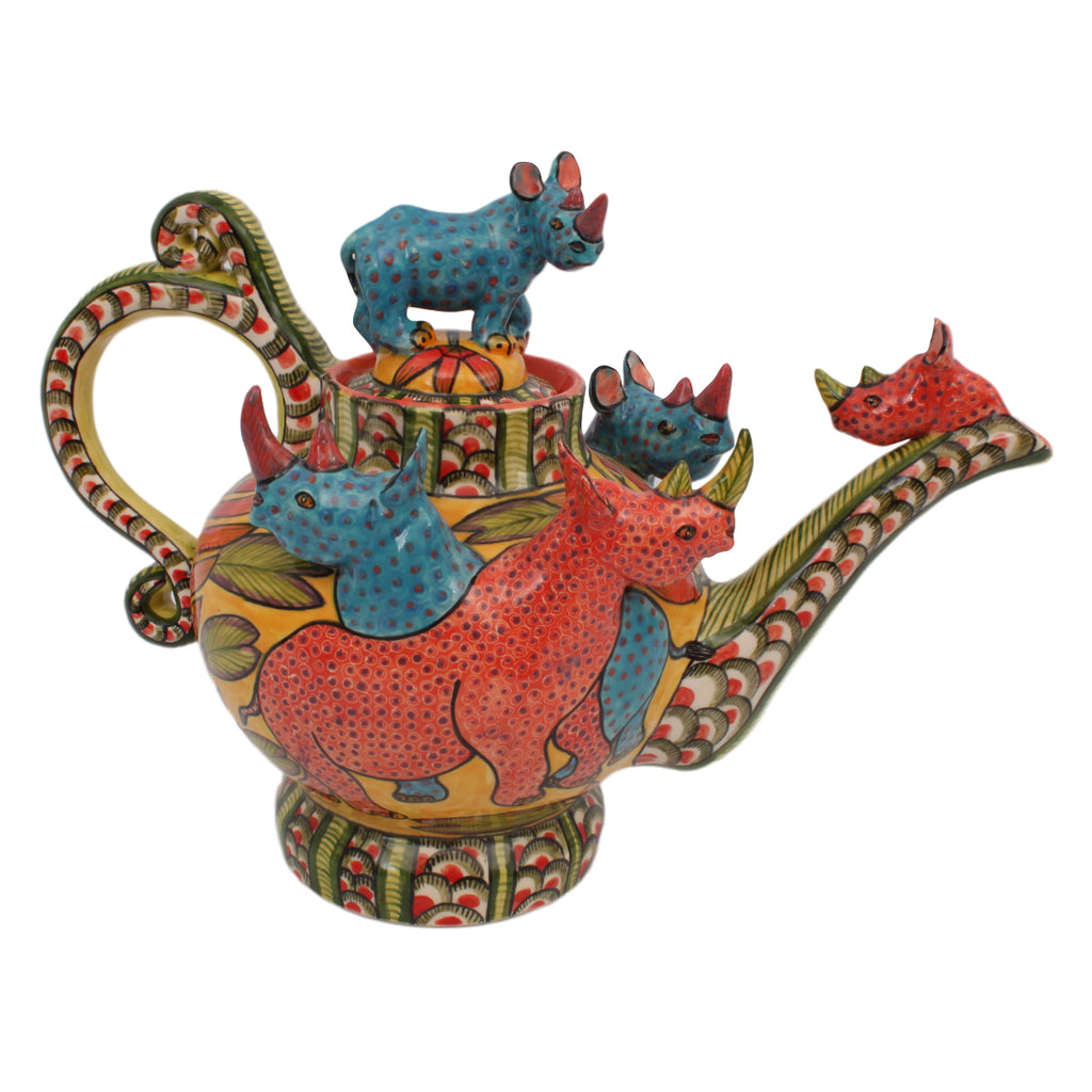 Rhinoceros Teapot | The Ardmore Collection | Fine Ceramic Art