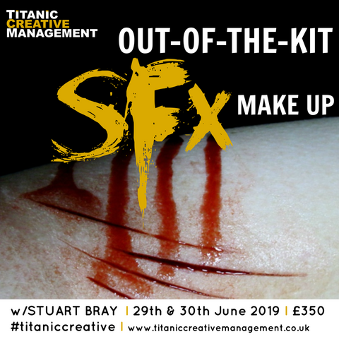 Stuart Bray's 'Out Of The Kit' SFX Makeup Weekend - 29th & 30th June 2019, Training Courses, Titanic Creative Management, Titanic Creative Management learn, makeup, courses, training, belfast, beauty, sfx, prosthetics, ireland, northern_ireland, united_kingdom, uk, europe, Titanic Creative Management