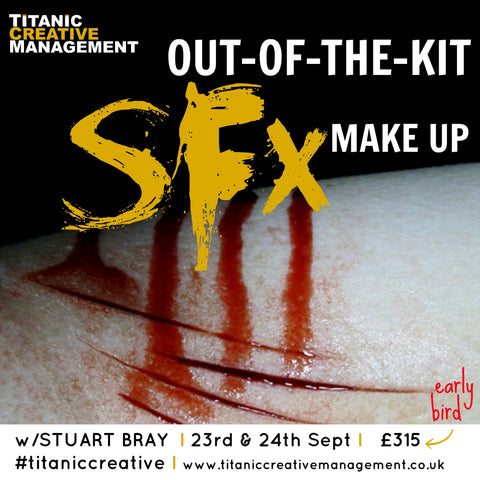 Stuart Bray,out of the kit, SFX, Prosthetics, MUA, makeup artist, training, learn, weekend, Titanic Creative Management, Belfast, September, northern_ireland, Ireland, UK