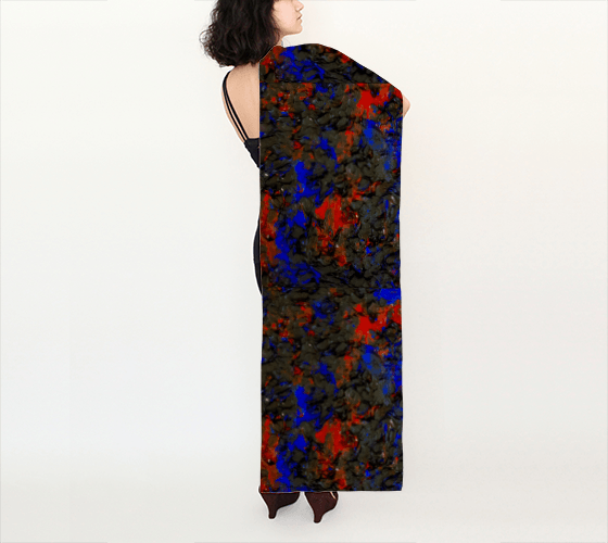Blue Red Dance Long Scarf