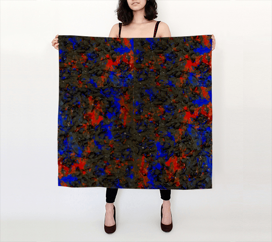Blue Red Dance Large Scarf