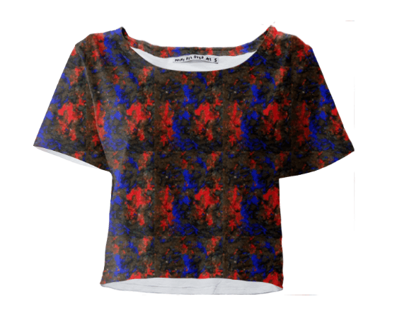 Blue Red Dance Crop Tee