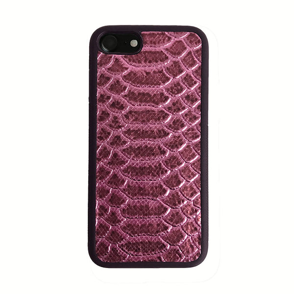 Leather iPhone Case - Metallic Pink Python