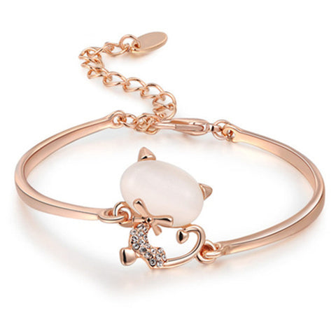 Rose White Gold Plated Opal Stone Cat Charm Bracelet