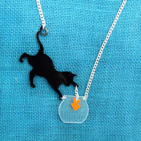 Cat and Fish Bowl Acrylic Necklace