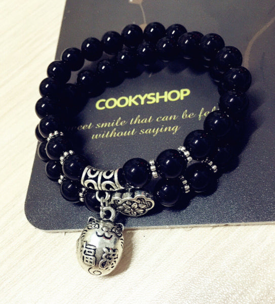 Black Onyx Multilayer Lucky Cat Bracelet
