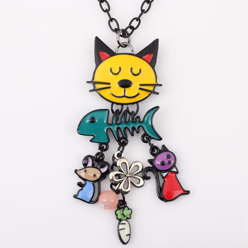 Colorful Cat, Fish, and Mouse Necklace