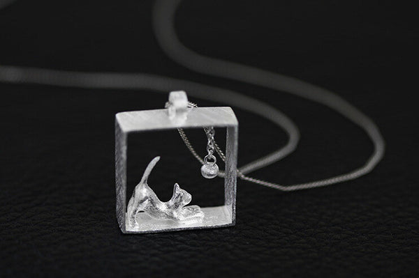Sterling Silver and Gold Square Cat Necklace