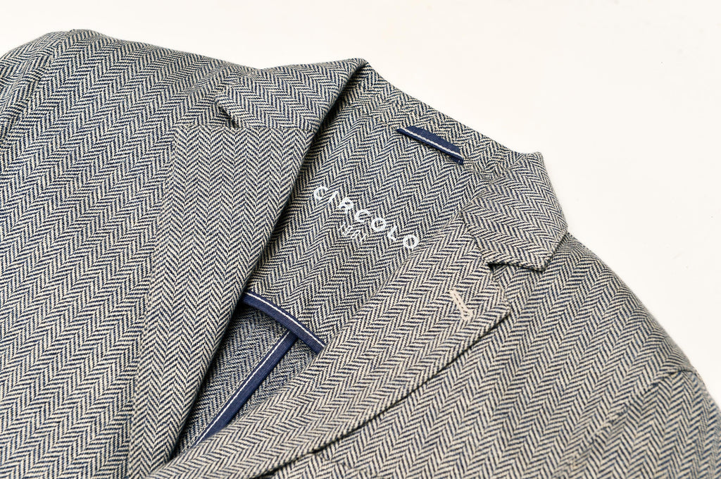 Two Button Herringbone Jersey Linen Jacket