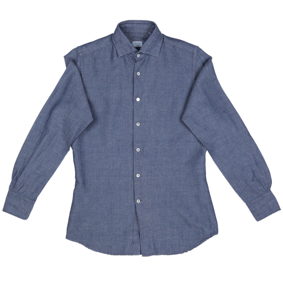Slim-fit Linen Chambray Long Sleeve No Pocket Shirt