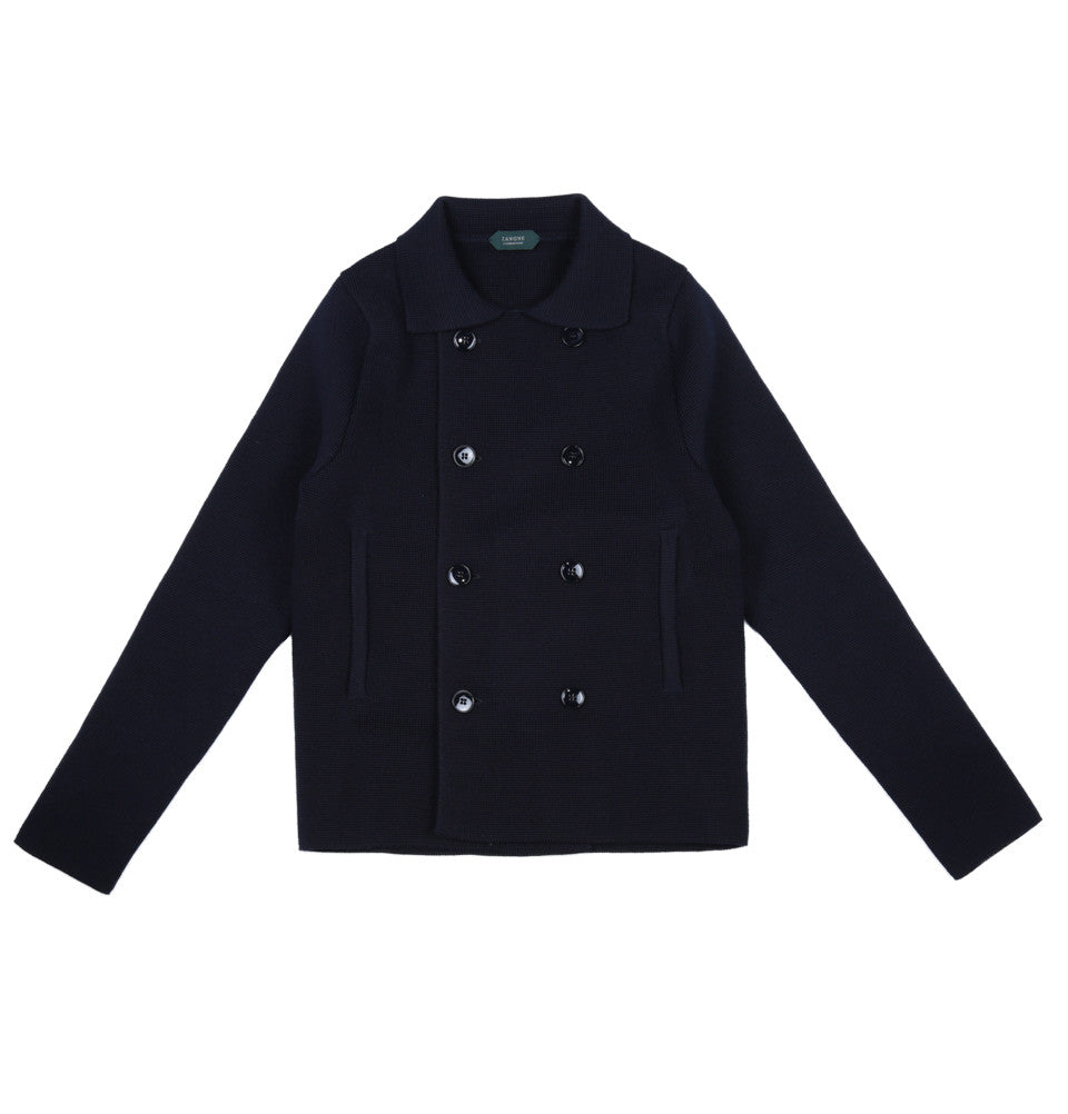 Knit Wool Peacoat Jacket