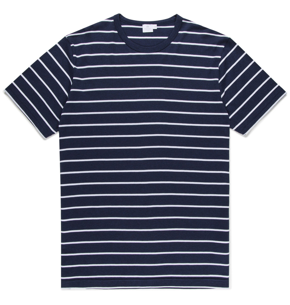 Q82 Quarter Stripe Short Sleeve Crew Neck T-Shirt