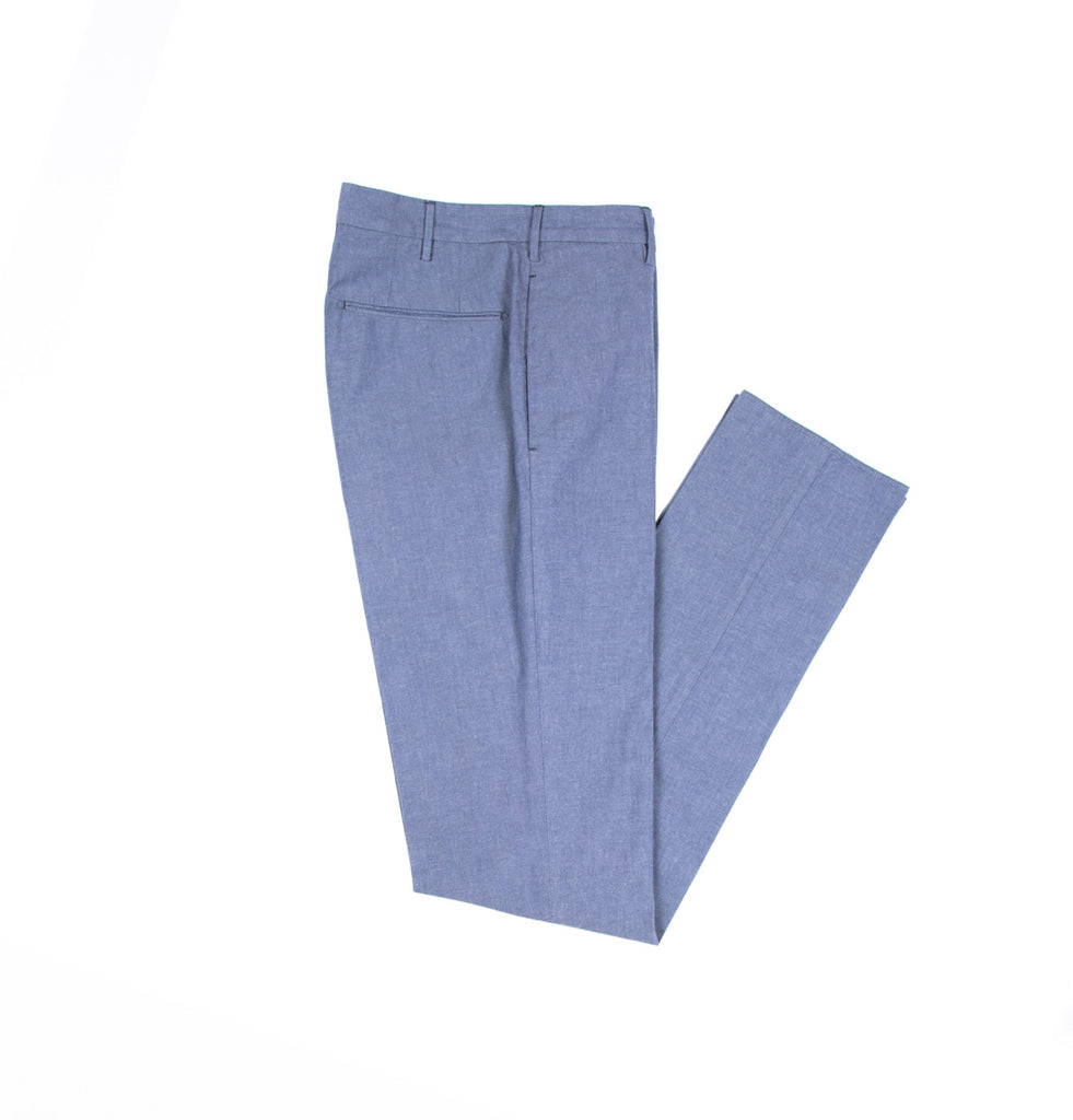 Slim Fit Flat Front Cotton Chambray Lightweight Pants
