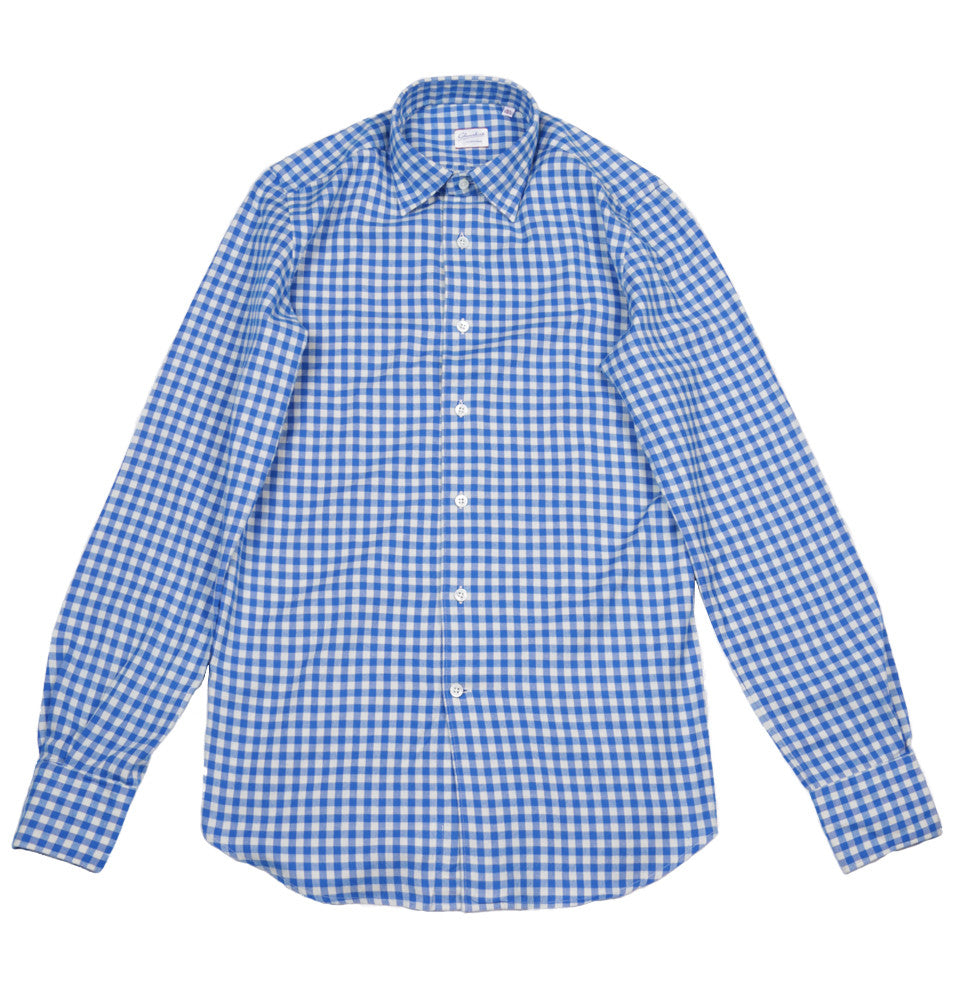 Slim Fit Gingham Cotton Kurt Long Sleeved Shirt