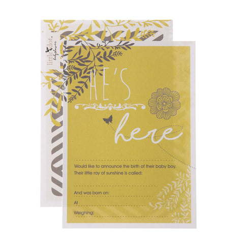 'He's here' You Are My Sunshine birth announcement cards by Little Dot