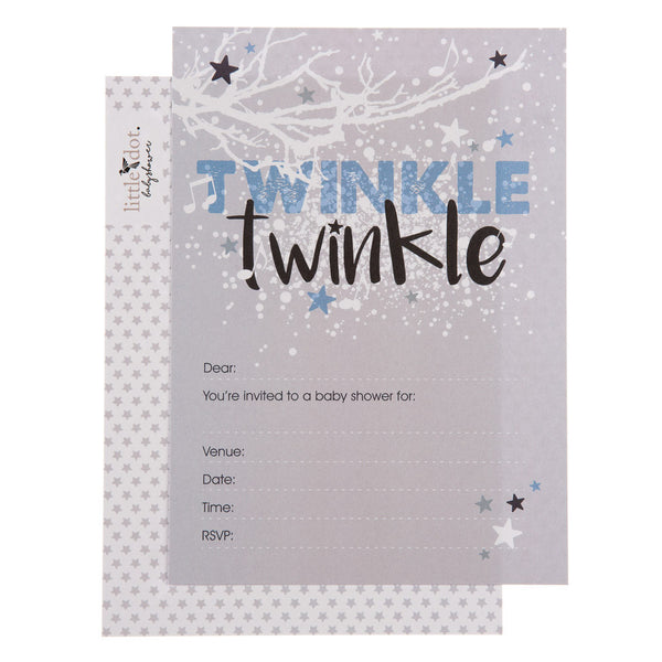 Twinkle Twinkle baby boy baby shower invitation
