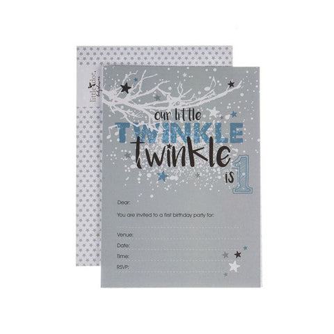 Twinkle Twinkle boys first birthday invitations