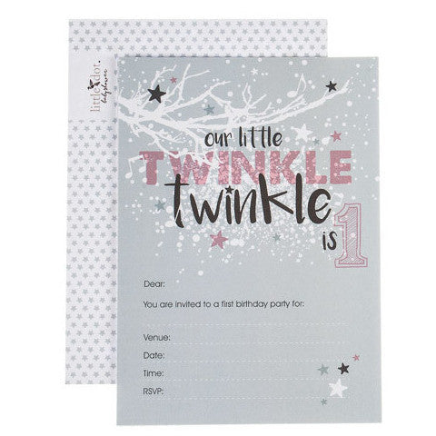 Twinkle Twinkle first birthday invitations by Little Dot