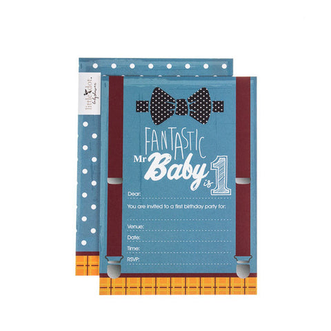 Fantastic Mr Baby first birthday cards by Little Dot Baby Shower