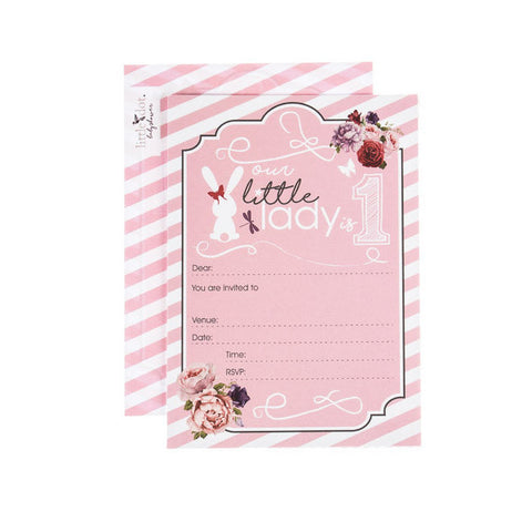 Little Lady First Birthday invitations by Little Dot Baby Shower