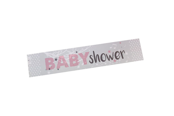 Twinkle Twinkle pink baby shower banner